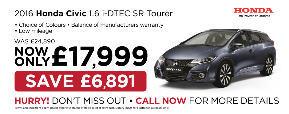 2016 Honda Civic 1.6 i-DTEC SR Tourer - Special Offer