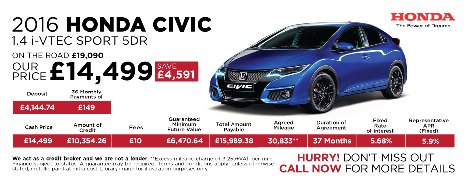 2016 Honda Civic 1.4 iVTEC Sport 5Dr - Special Offer
