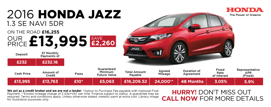 2016 Honda Jazz 1.3 SE Navi 5Dr - Special Offer