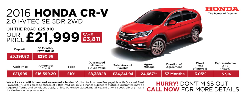 2016 Honda CR-V 2.0 iVTEC SE 5Dr 2WD - Special Offer