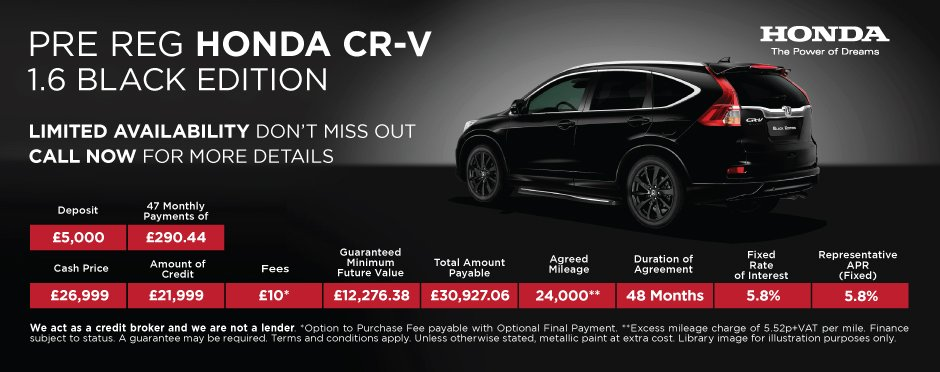 Honda CR-V Black Edition - Pre Reg PCP Offer